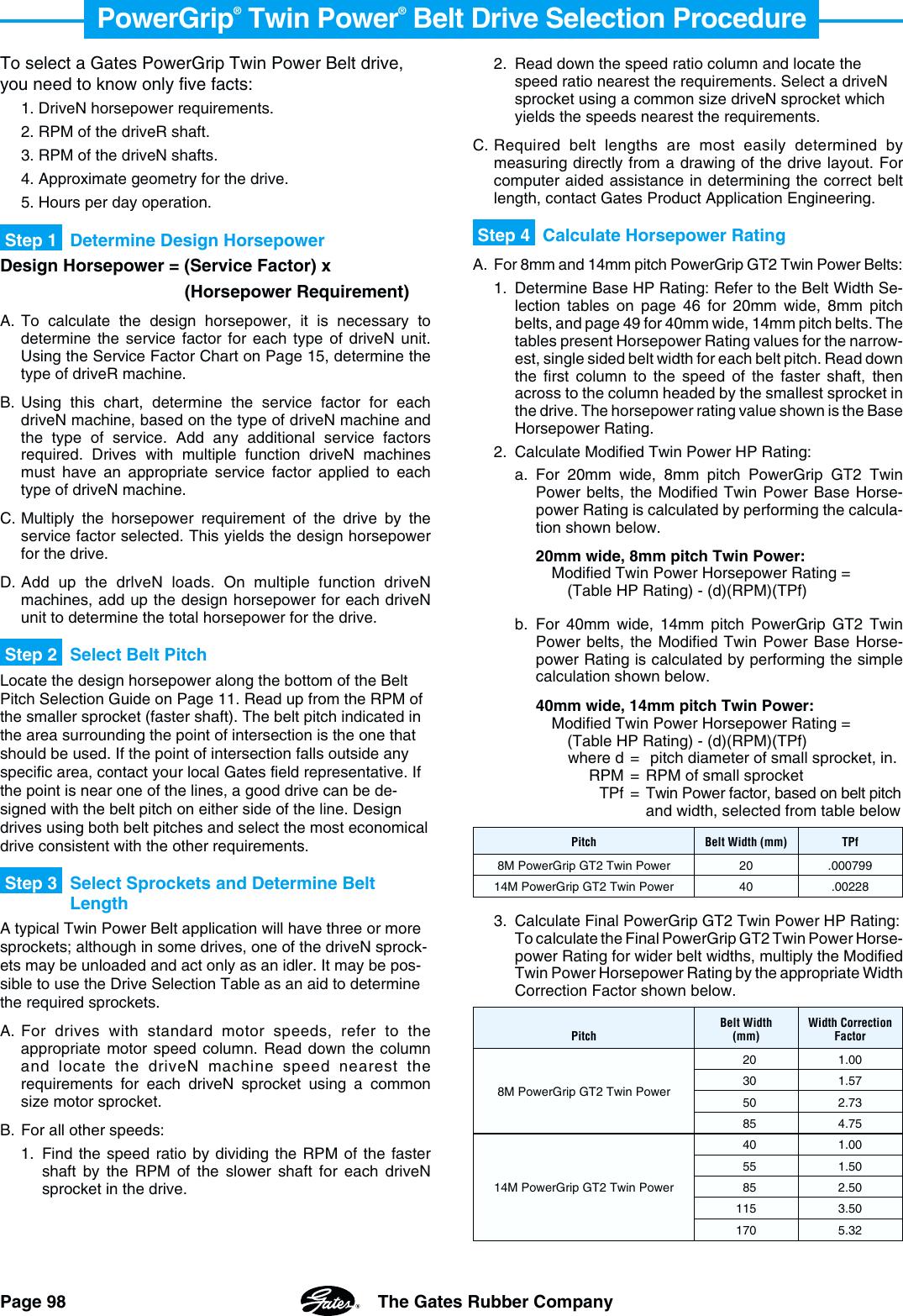 Gates Corporation Powergrip Belt Drives Gt2 Users Manual PowerGrip