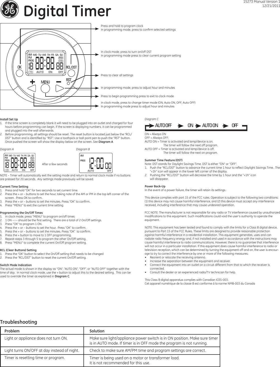 Ge Appliances 15273 Plugin 7day Digital Timer Owners Manual