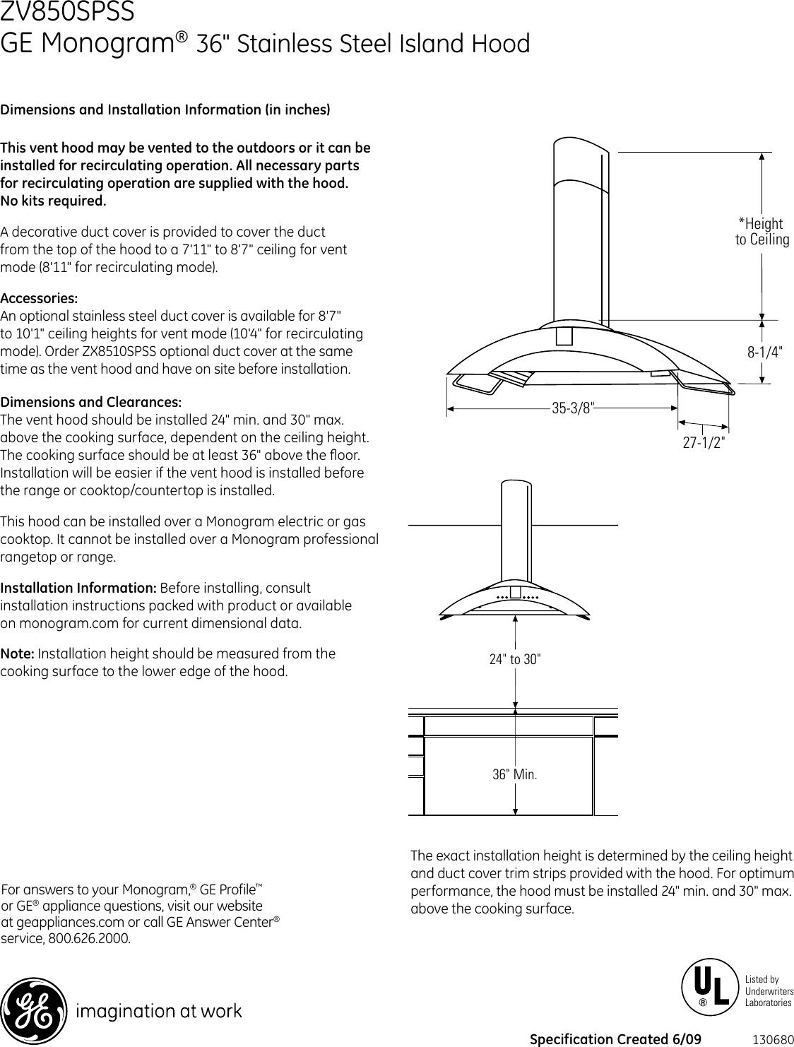 Ge Appliances Monogram Zv850Spss Users Manual