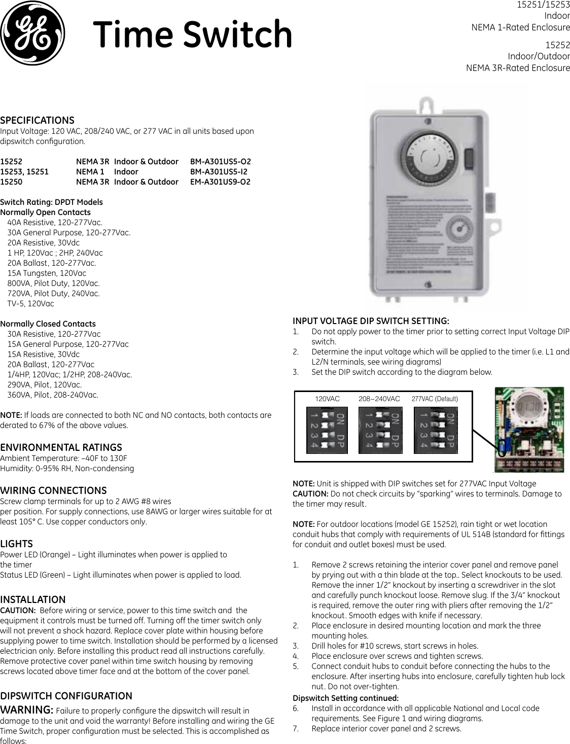 Ge Appliances Boxtimer Time Switch 15251 15252 And 15253 Quick Start Wiring Diagram Spdt Dip Configuration Guide