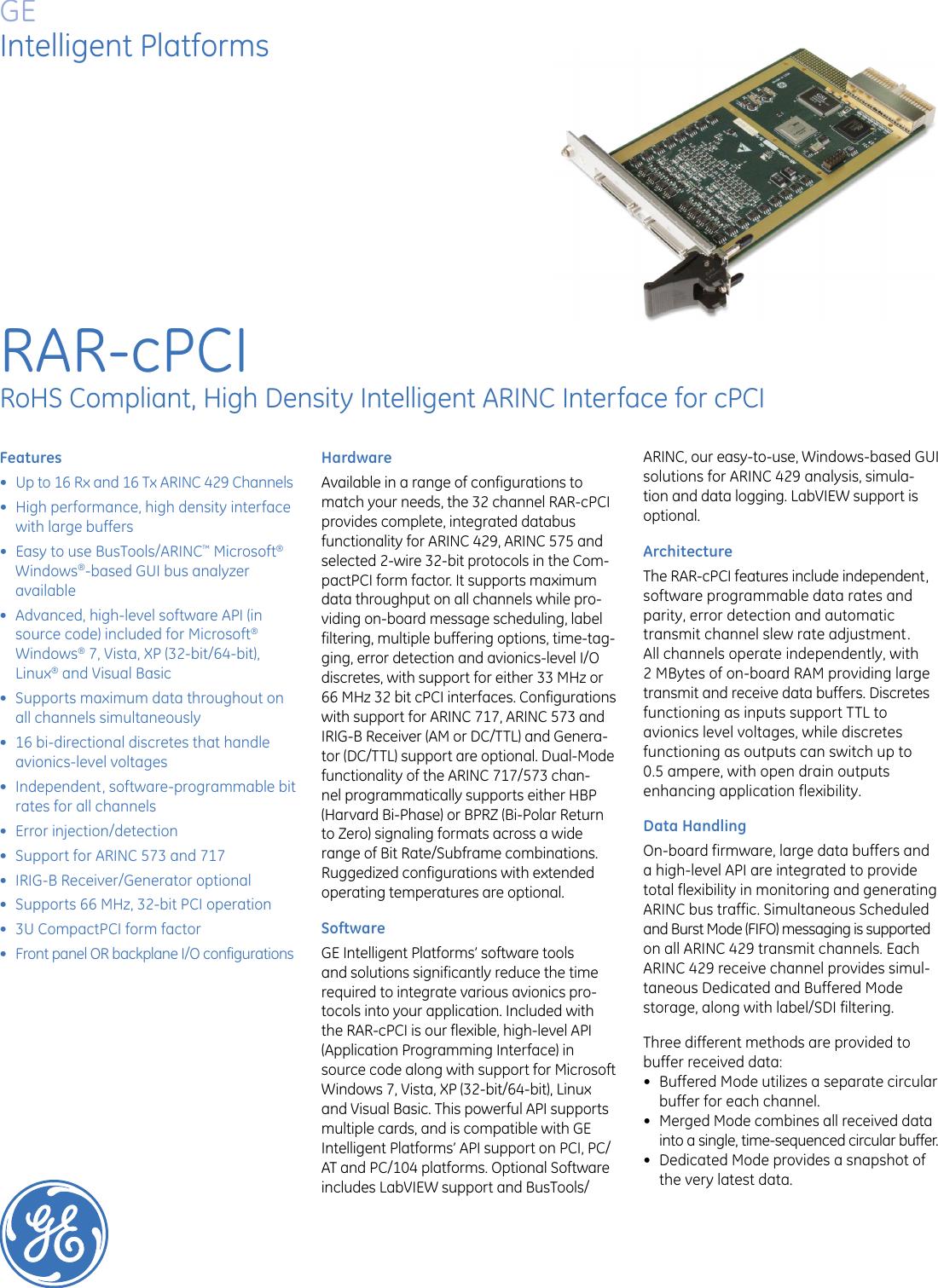 Page 1 of 2 - Ge-Appliances Ge-Rar-Cpci-Interface-Data-Sheet-  Ge-rar-cpci-interface-data-sheet