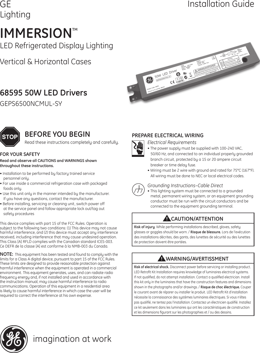 Led Driver Wiring Instructions Ge Appliances Rh30 System Installation Guide Immersion Refrigerated Display Lighting Geps6500ncmul Sy 68595