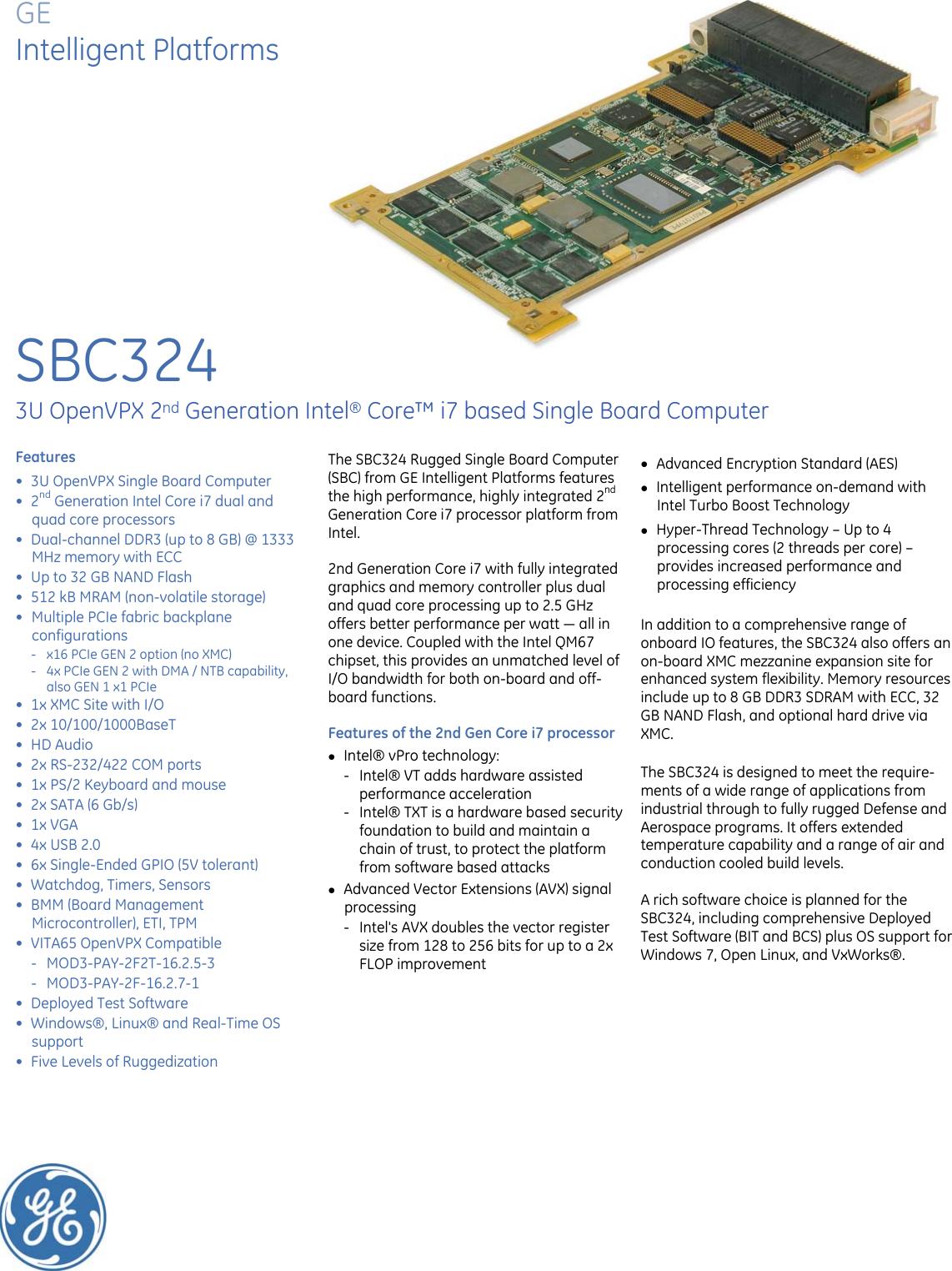 Ge Appliances Sbc324 3U Vpx Sbc Data Sheet Sbc324_ds_gfa1777_wip