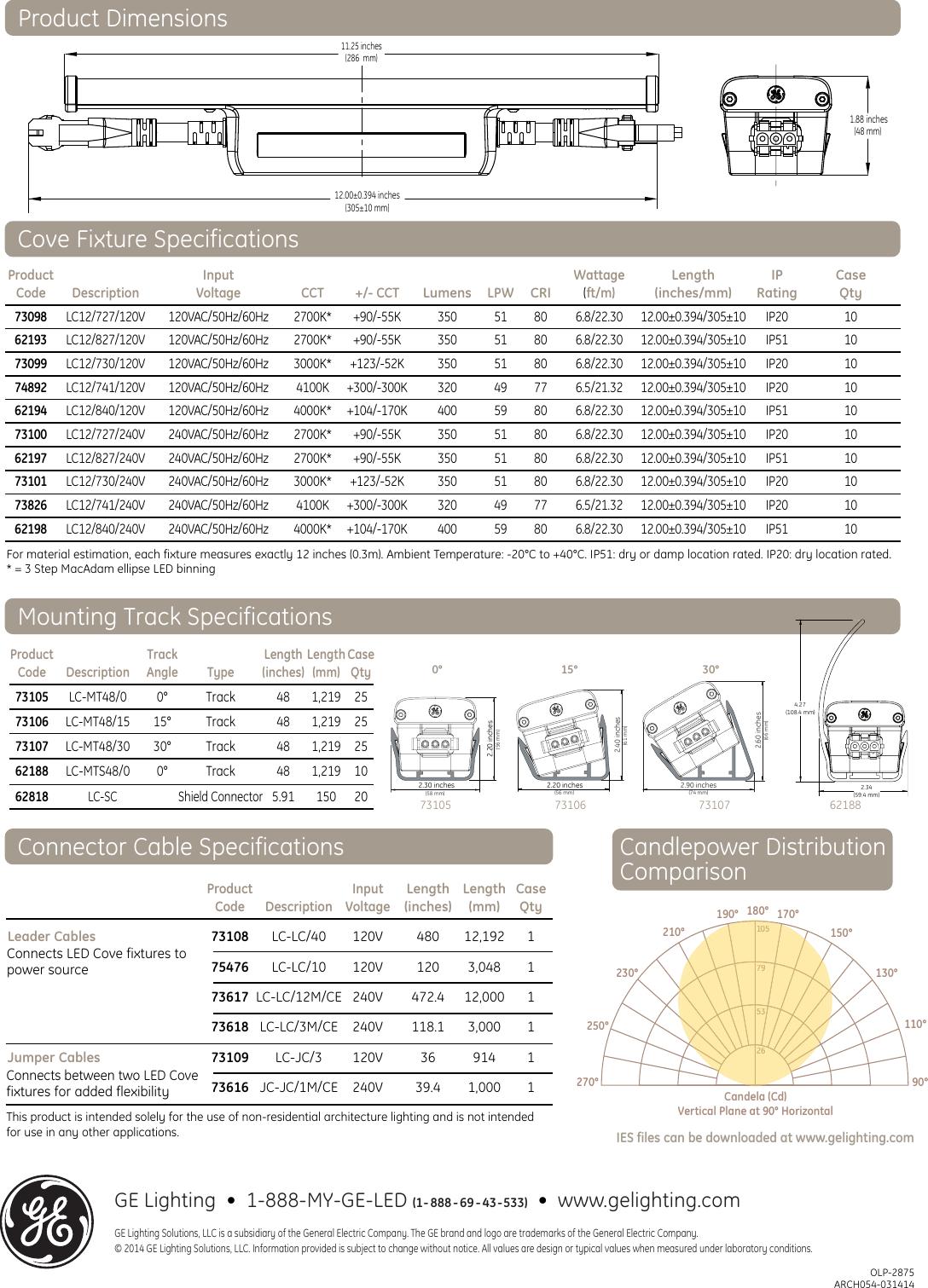 Ge Led Cove Lighting Data Sheet Indoor