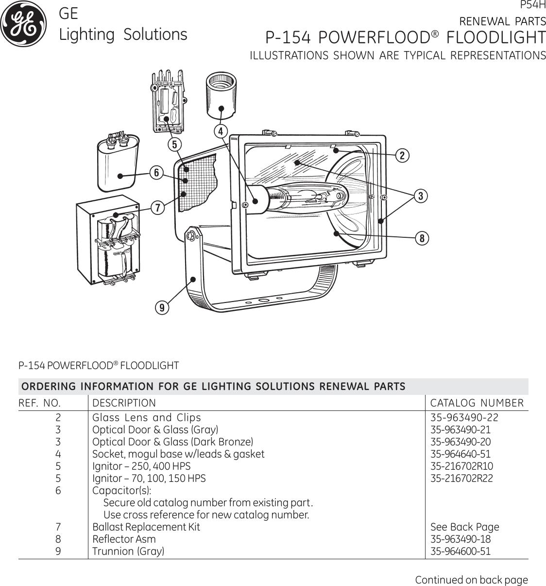 Ge P54H Renewal Parts P154 Powerflood Hazardous — | HAZ017