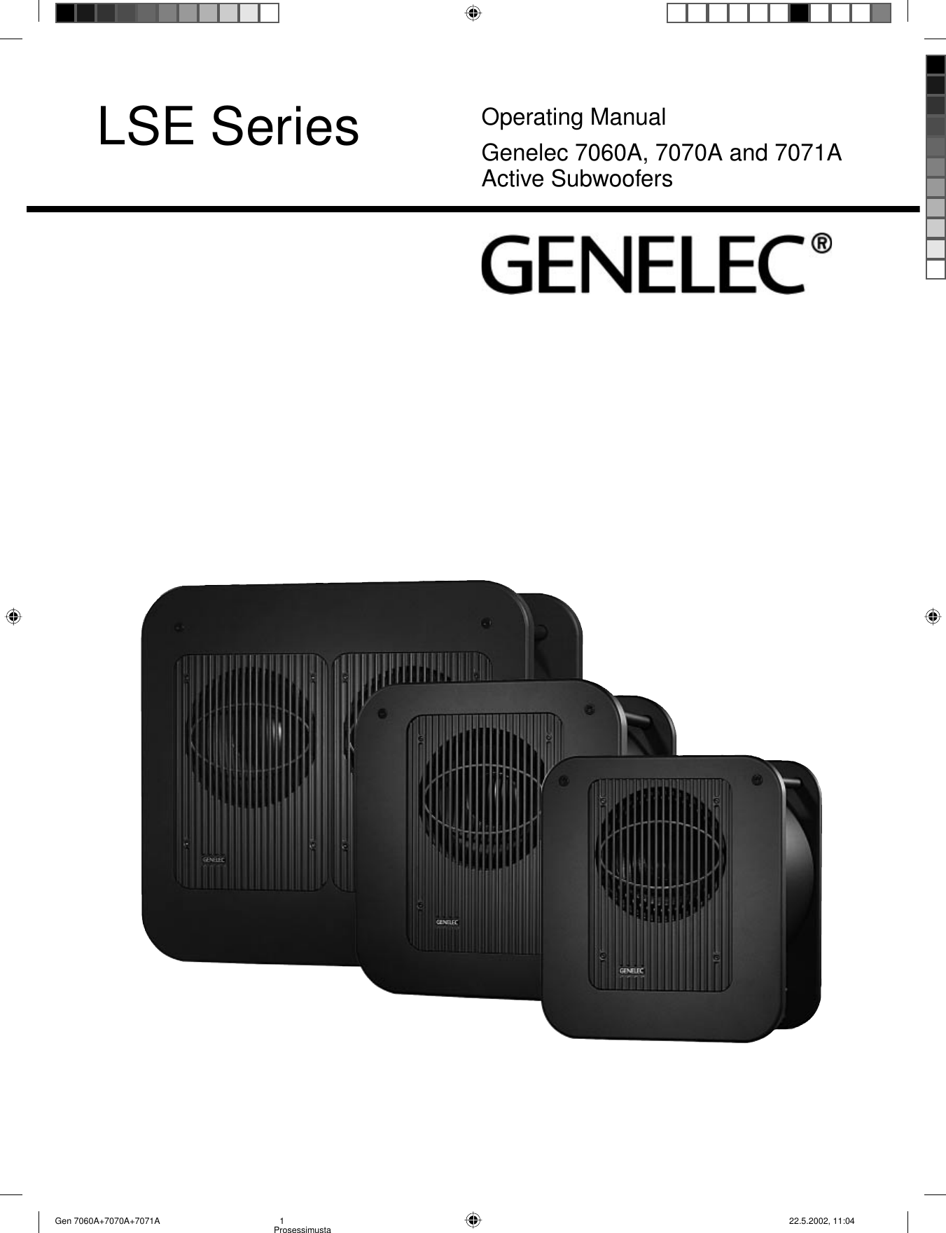 Genelec 7060a Users Manual Gen 7070a 7071a Pin Subwoofer Filter Crossover 11 90 Hz Frequency Circuit Free On