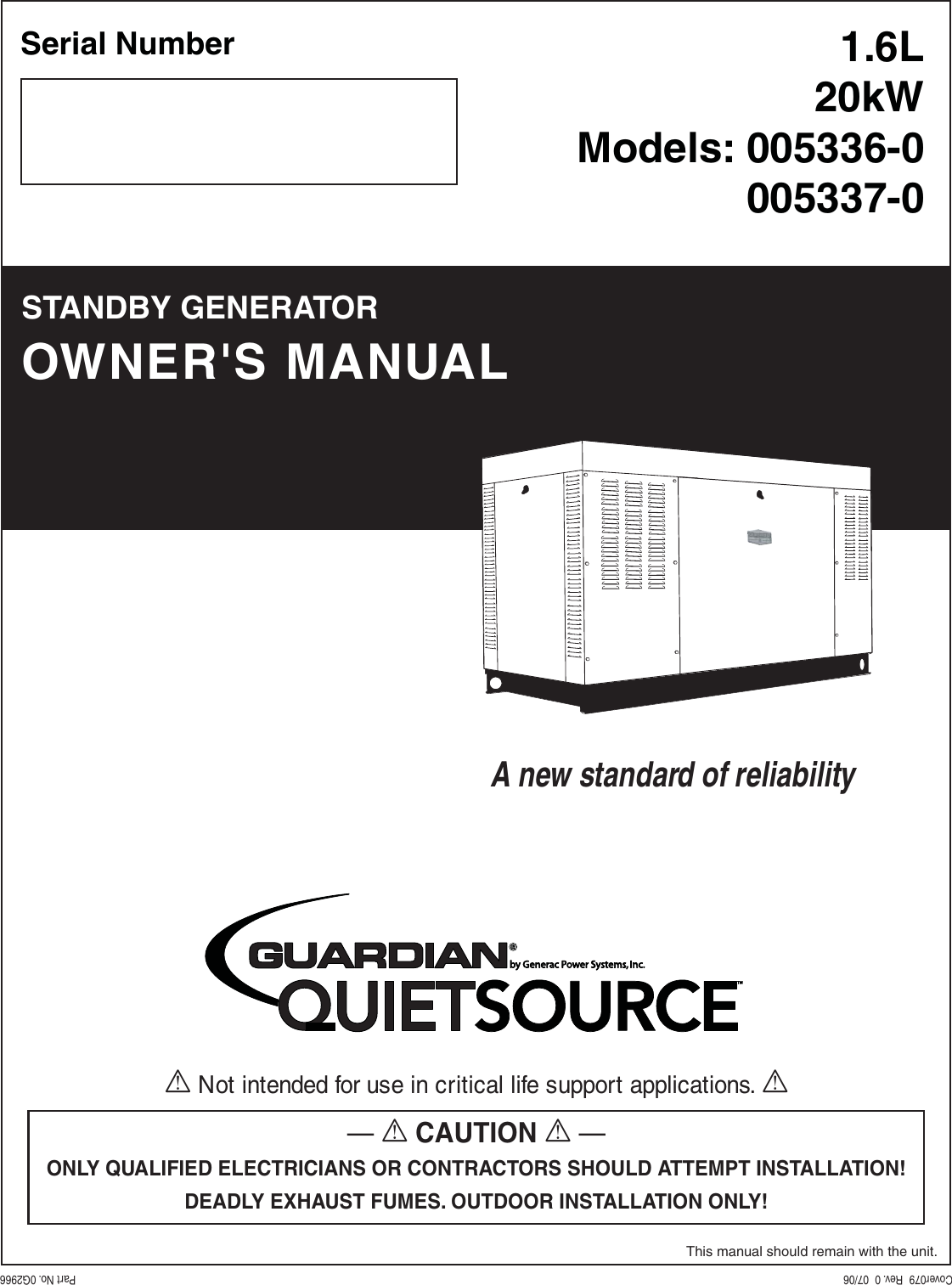 Generac Power Systems 005336 0 005337 Users Manual Cover079 Rev0 07 06
