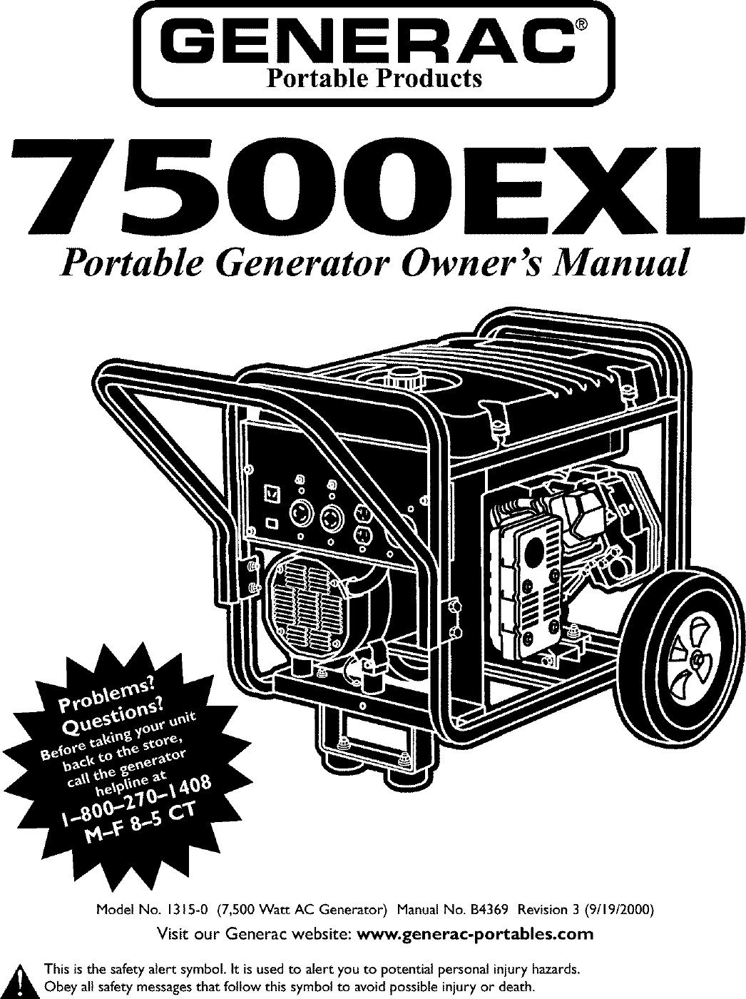 Generac 1315 0 User Manual GENERATOR Manuals And Guides L0403232