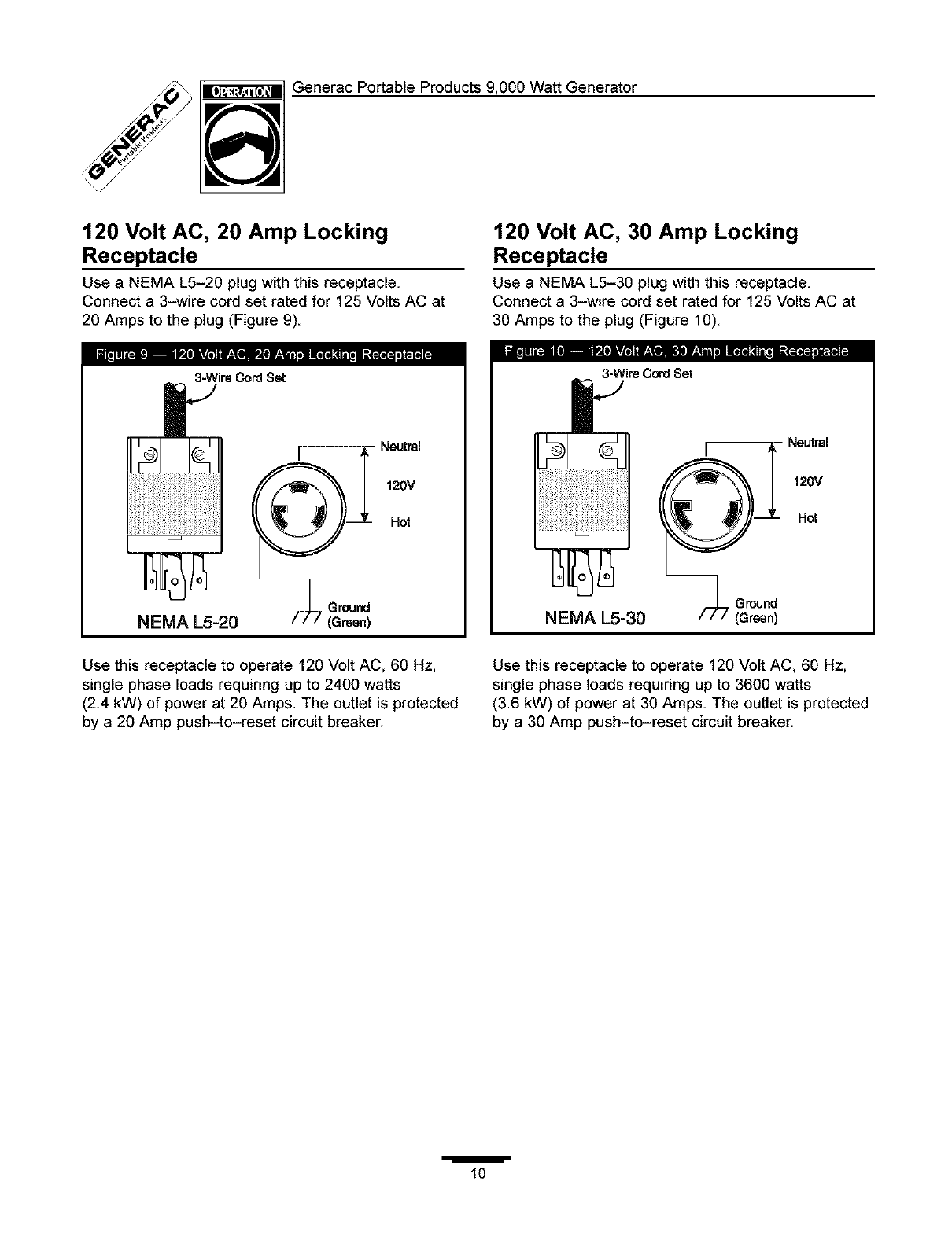 Generac 1338 1 User Manual Generator Manuals And Guides L0403233 120 Volt Wiring Diagram Generacportableproducts9000wattgenerator