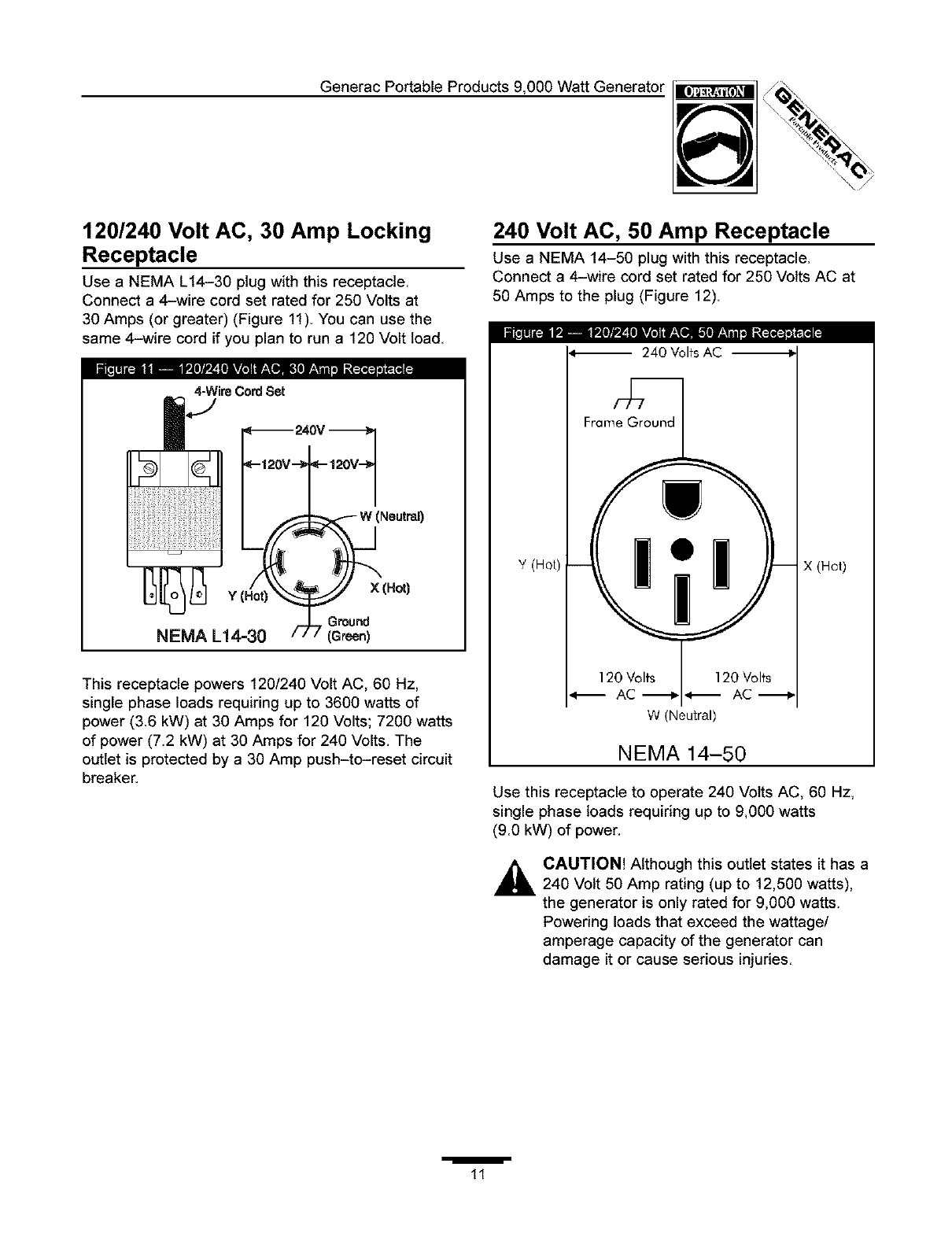 Generac 1338 1 User Manual Generator Manuals And Guides L0403233 120 240v Wiring Diagram Generacportableproducts9000wattgenerator 240