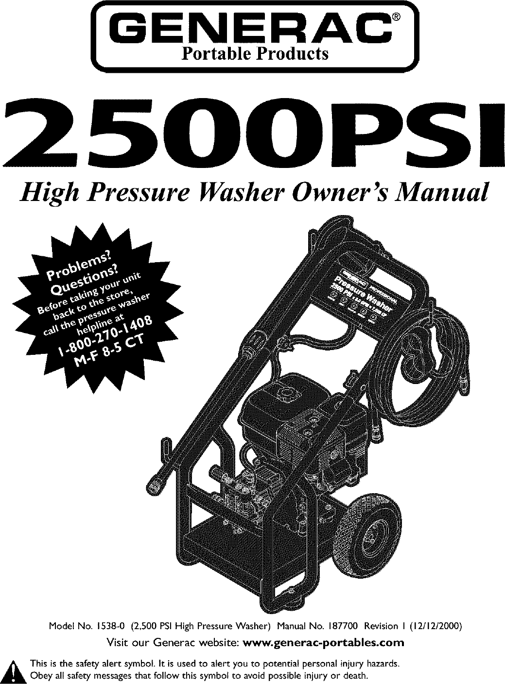 Generac 1538 0 User Manual PRESSURE WASHER Manuals And