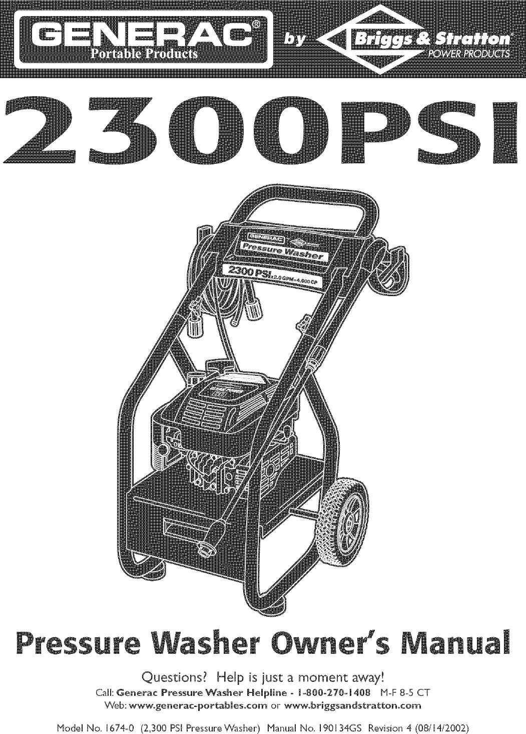 ... Array - generac 1674 0 user manual pressure washer manuals and guides  l0505107 rh usermanual wiki