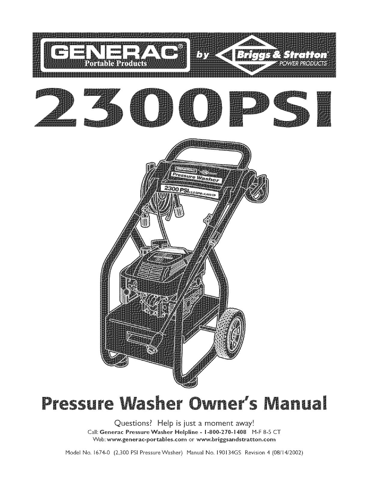 Generac 1674 0 User Manual PRESSURE WASHER Manuals And Guides L0505107UserManual.wiki