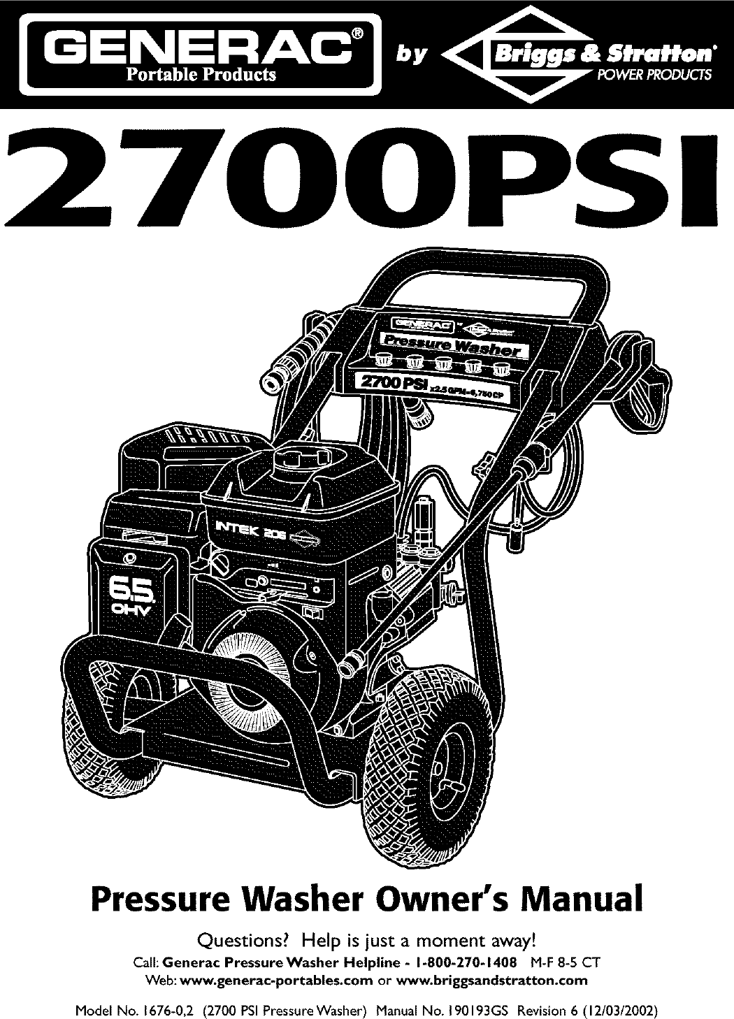 Generac 1676 0 User Manual PRESSURE WASHER Manuals And
