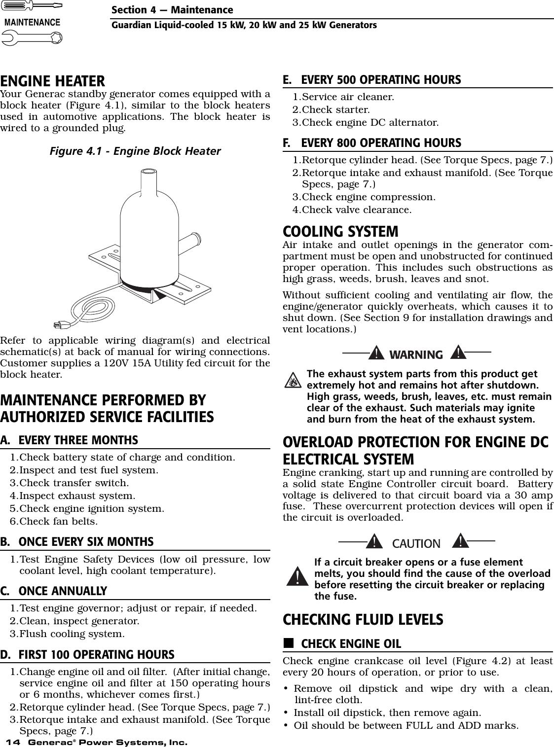 Generac 004188 1 Owners Manual D6444Rev0