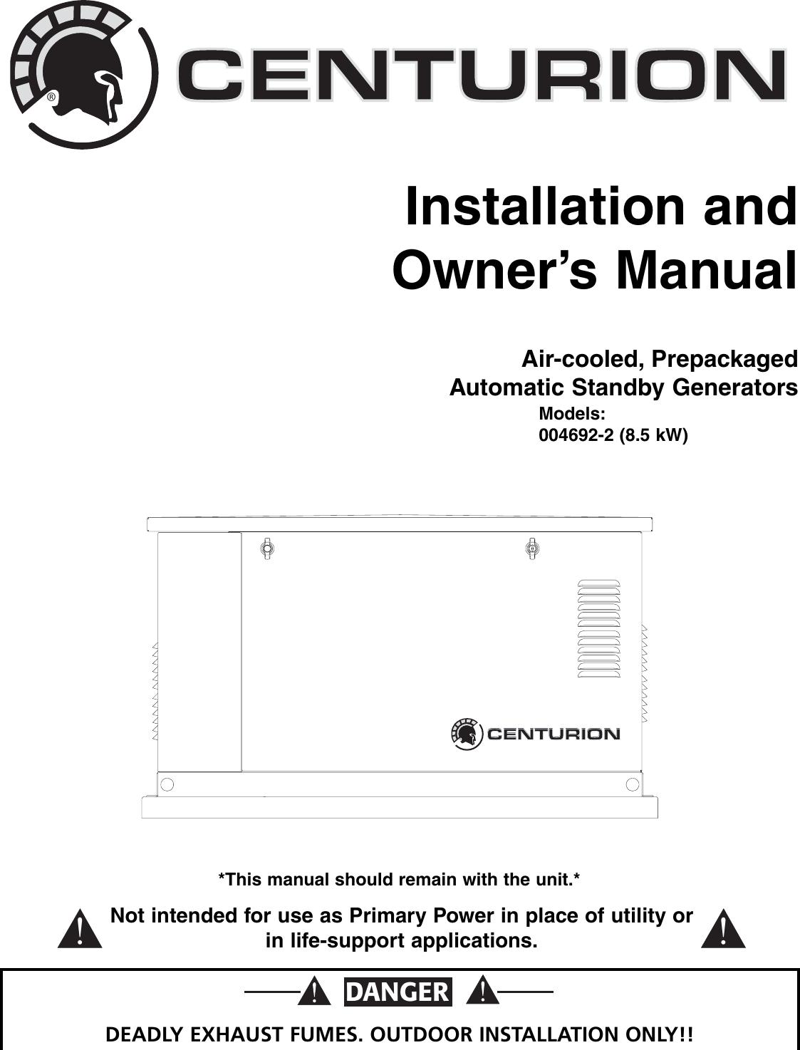 Generac 004692 2 Owners Manual 0f0091revb Kel Alternator Wiring Diagram