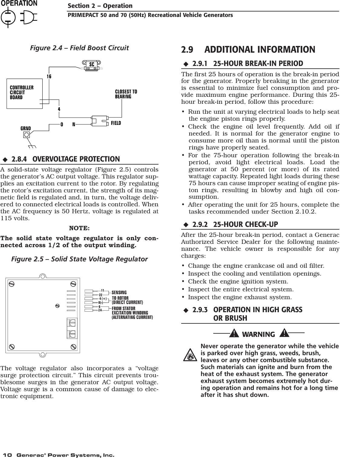 Generac 00784 2 09290 4 Owners Manual Primepact 50 & 70 RV
