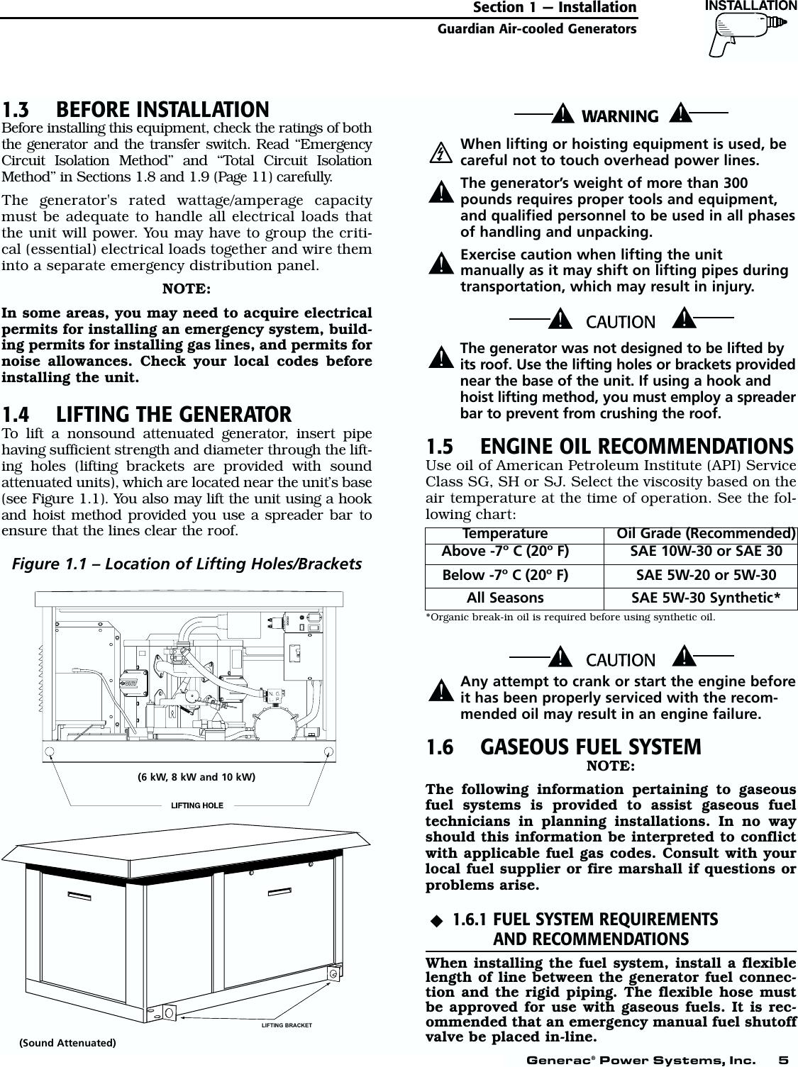 Generac 04077 01 04109 1 04079 00789 00844 Owners Manual Guardian 6