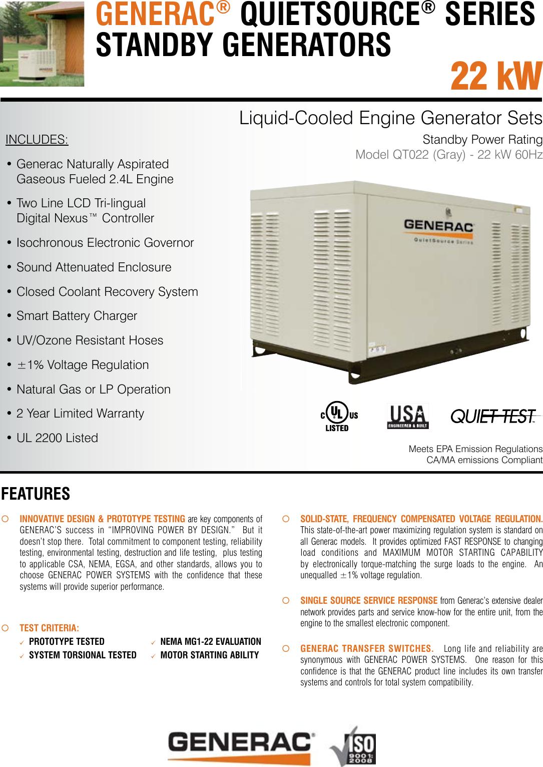 Generac Standby Generator Qt022 Users Manual