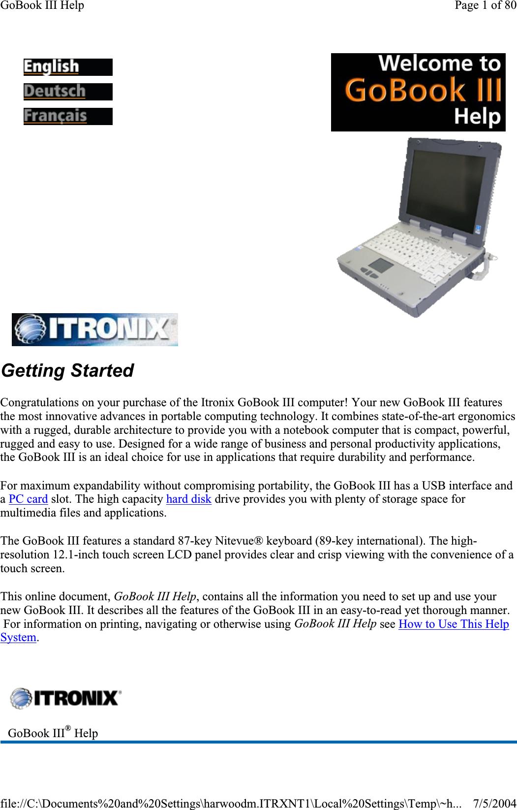 General Dynamics Itronix IX260PNL3AC580 Laptop PC with Dual
