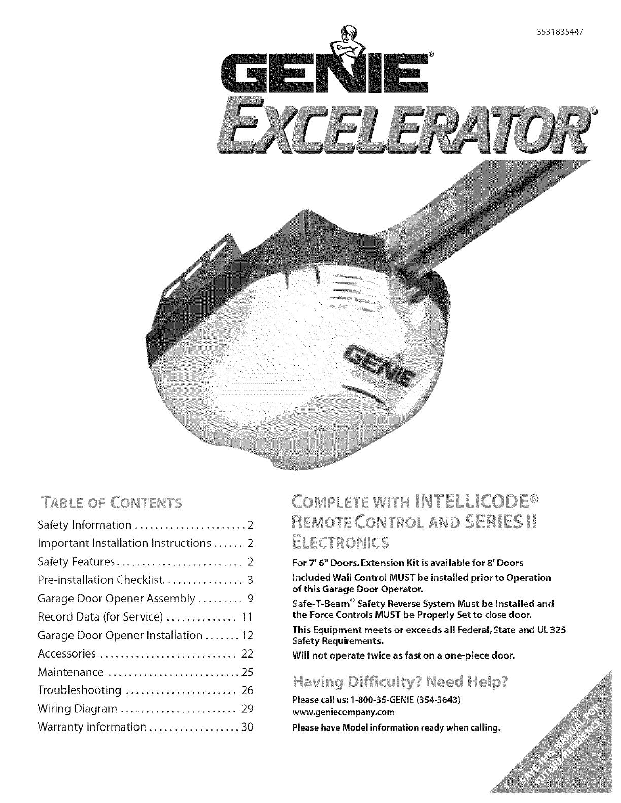 Genie EXCELERATOR User Manual GARAGE DOOR OPENER Manuals And Guides L0703287UserManual.wiki