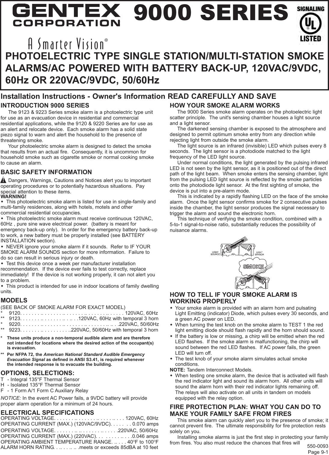 Gentex 9120 HF Photoelectric Smoke Alarm