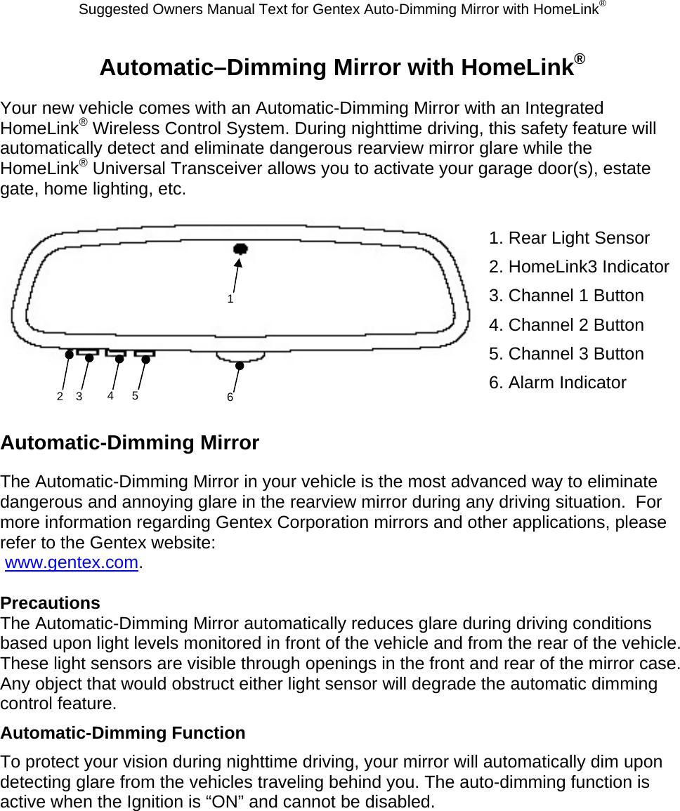 Gentex Obmhl3 Universal Garage Door Opener In Mirror User Manual