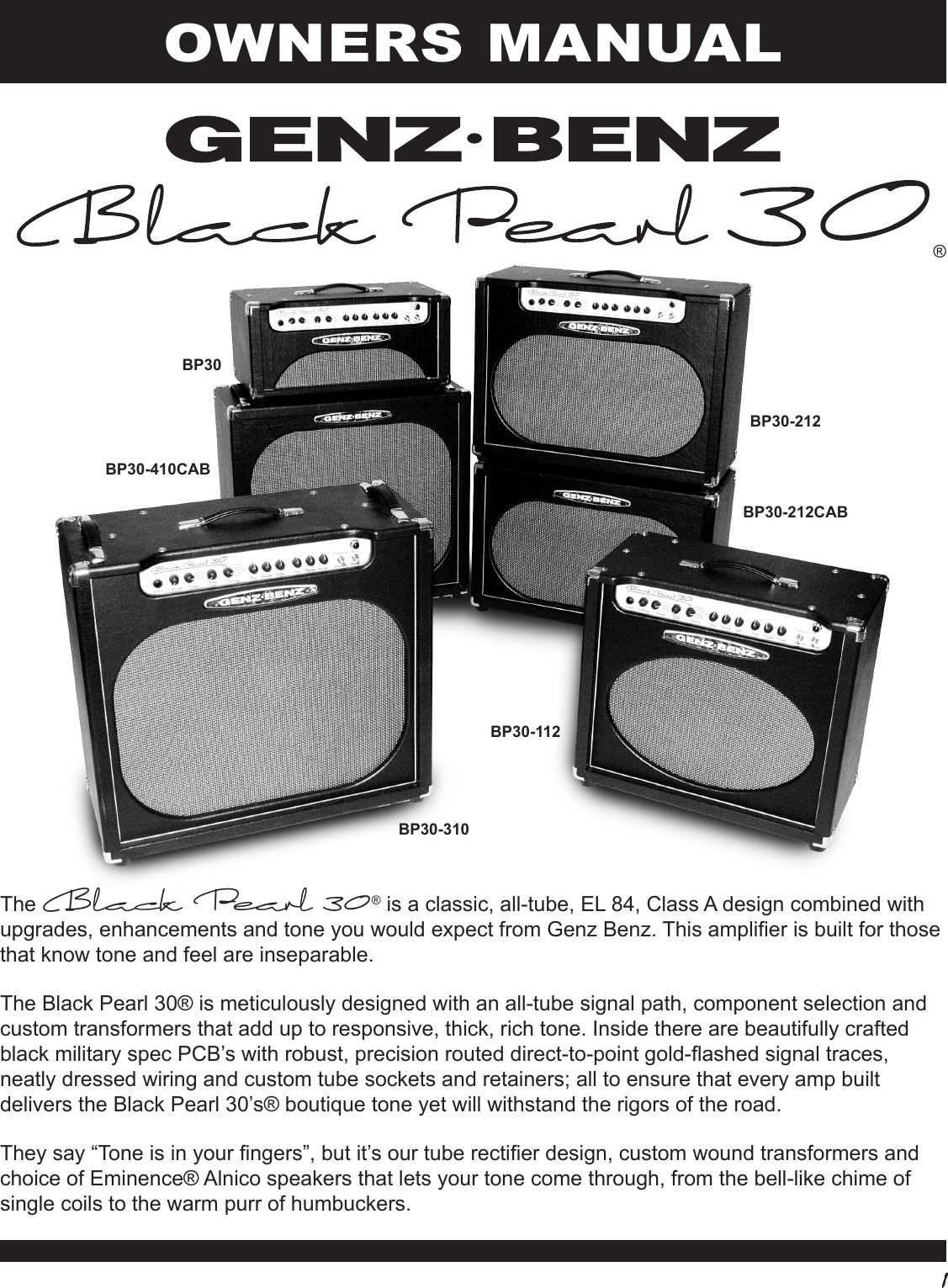 Page 1 of 8 - Genz-Benz Genz-Benz-Black-Pearl-30-Bp30-Users-Manual-  Genz-benz-black-pearl-30-bp30-users-manual