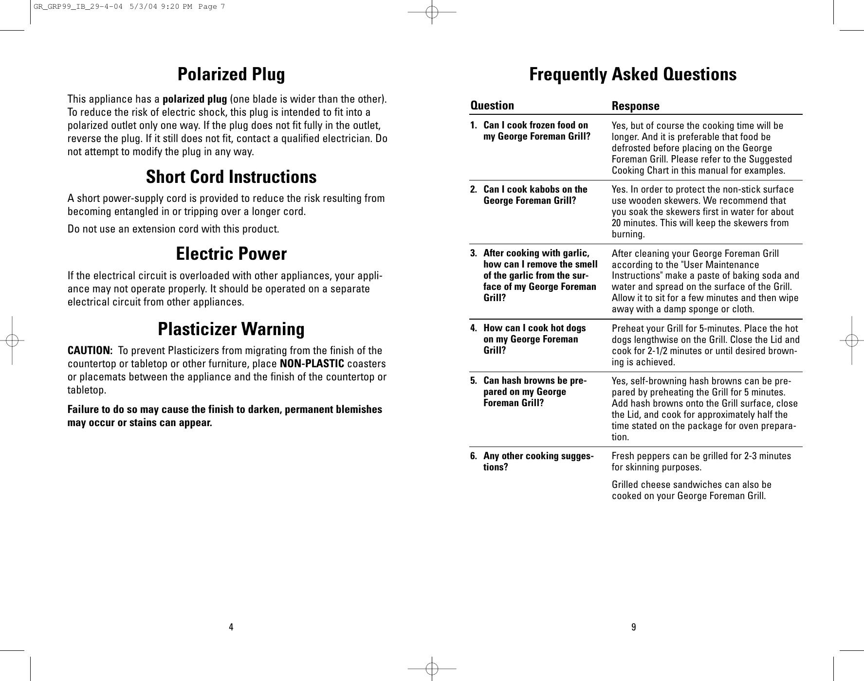 George Foreman Grp99 Users Manual Grgrp99ib29 4 04
