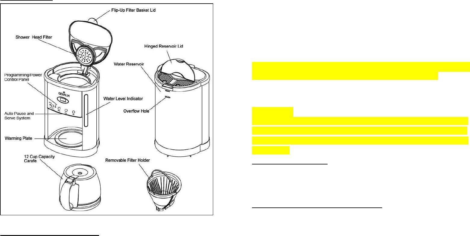 Gevalia Programmable 12 Cup Coffeemaker Xcc Users Manual