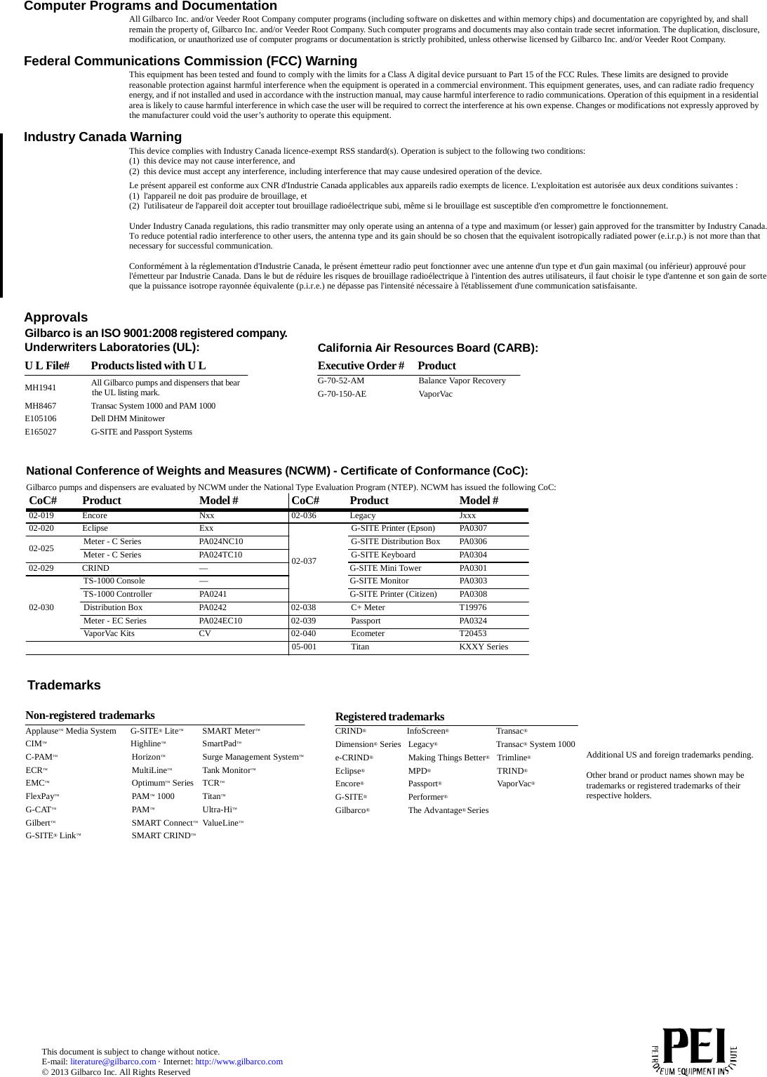 Gilbarco LFADV RFID Module User Manual 13 0074 Exhibit Cover