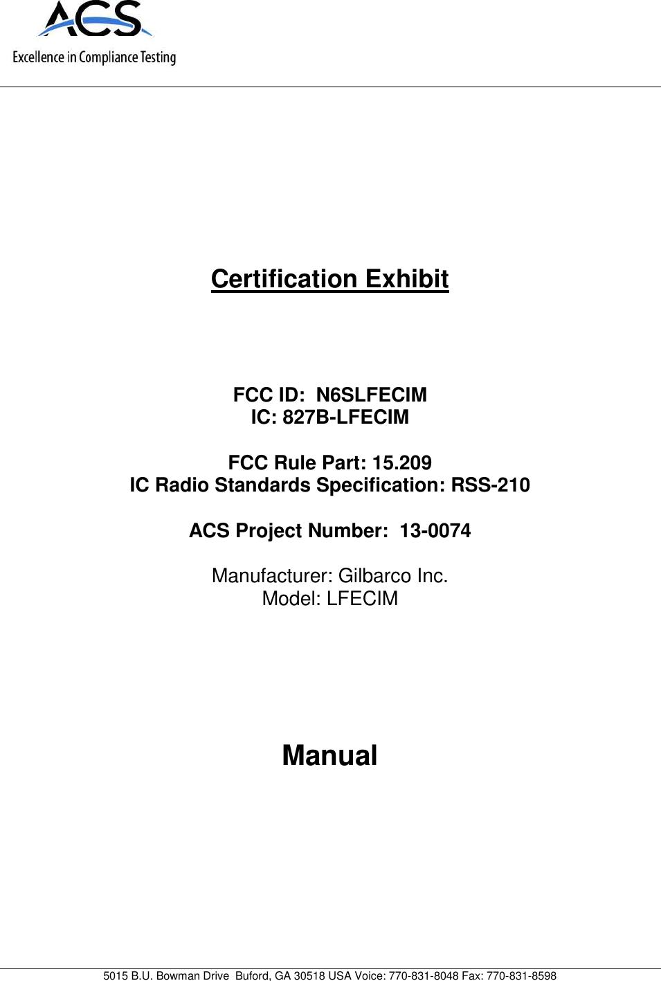 User Guide 1926000 Page 1 gilbarco lfecim rfid module user manual 13 0074 exhibit cover