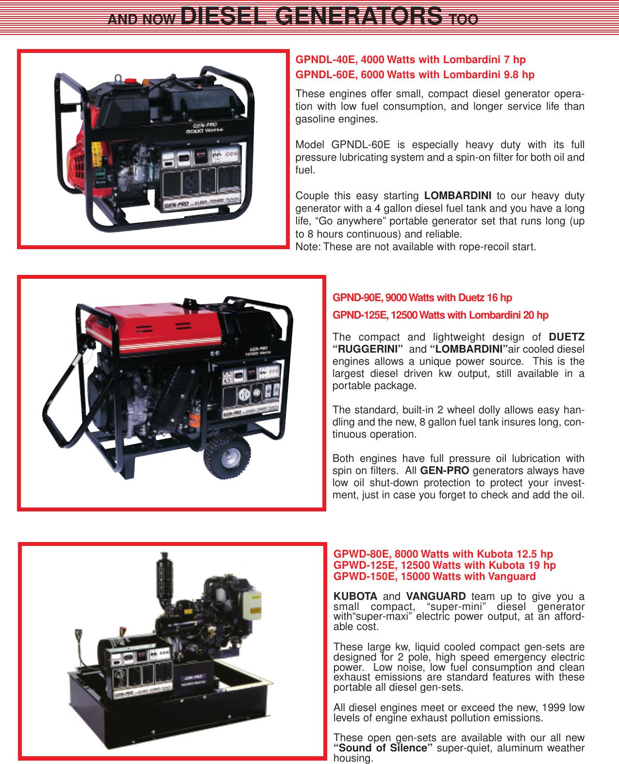 Gillette Portable Generators Users Manual Gen Pro 2