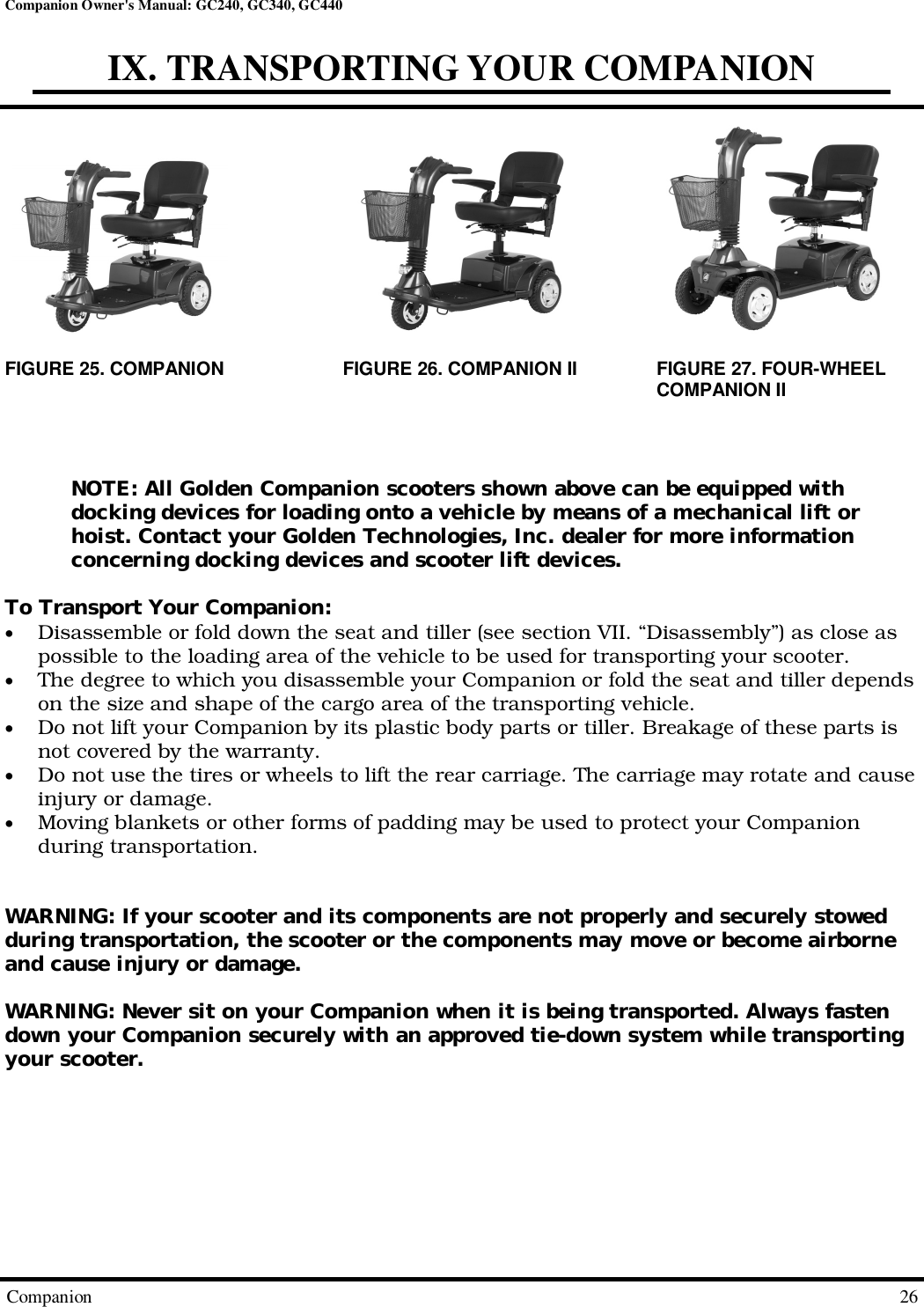 Golden Technologies Gc240 Users Manual CompanionOwnersManual 081409