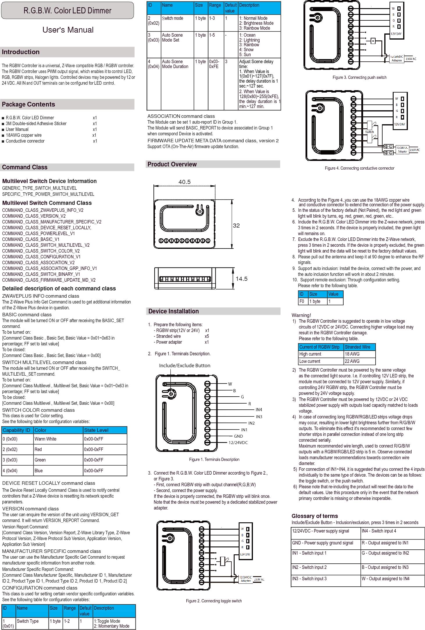Good Way Technology Td14000z1 Rgbw Color Led Dimmer User Manual 3 Navigation Switch Td14010z1 V4 0