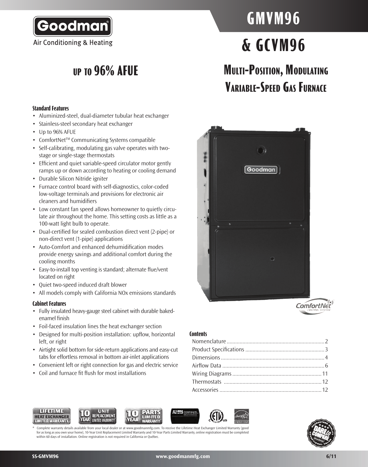 Goodman Mfg Furnace Gmvm96 User Guide Manual Guide