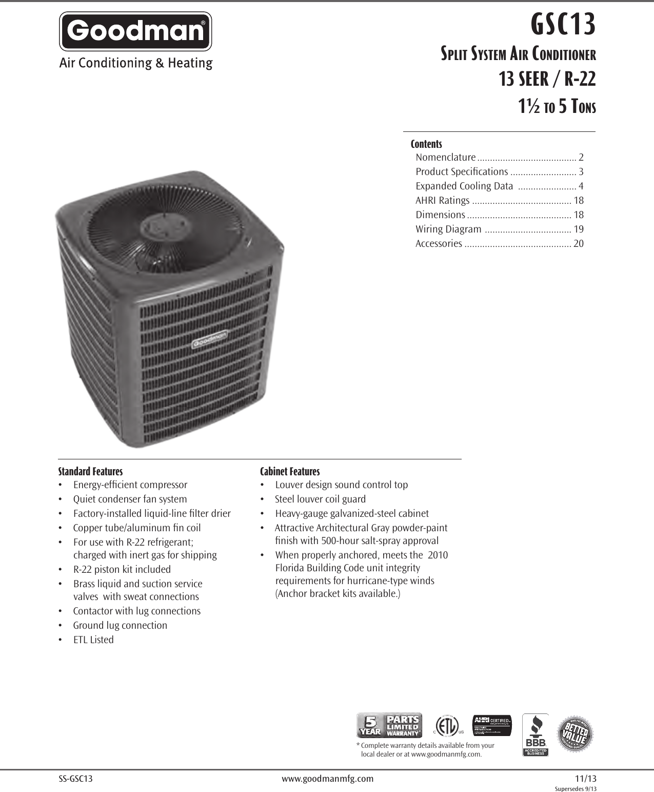 Goodman Mfg Co Lp Air Conditioner Gsc13 Users Manual Wiring Diagram For Package Ac Unit