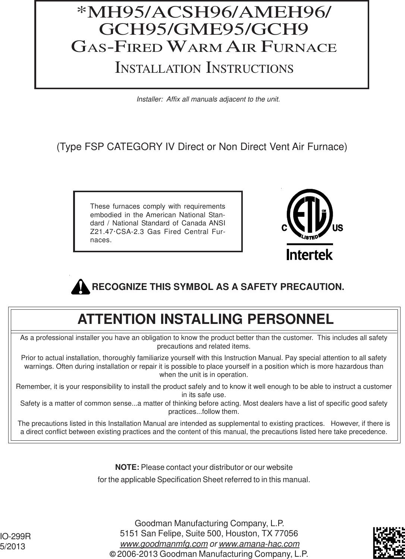 Goodman Mfg Co Lp Furnace Gas Fired Warm Air Users Manual Wiring Ssu