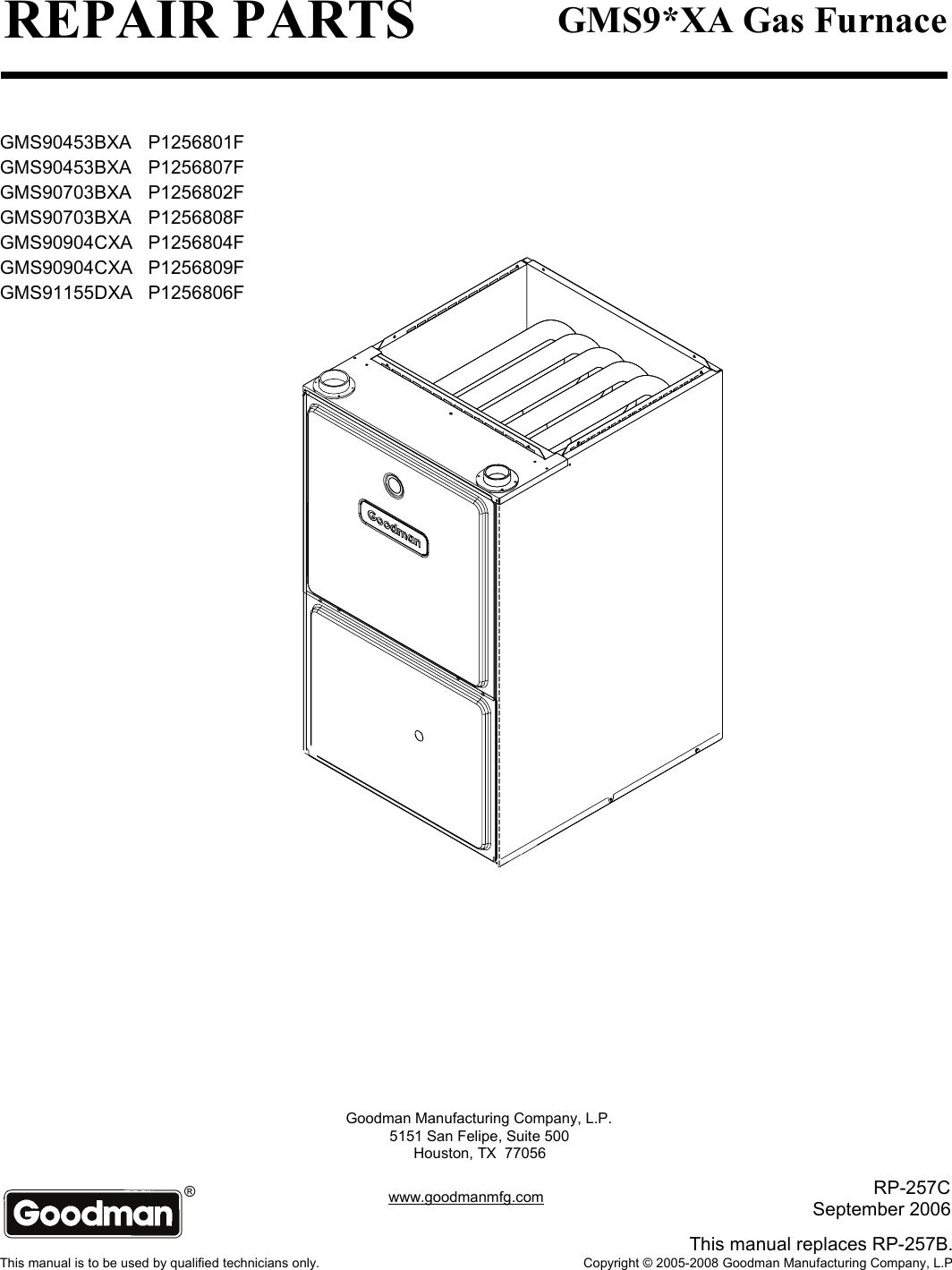 GoodmanMfgP1256801FUsersManual429694.1212782853 User Guide Page 1 goodman mfg p1256801f users manual