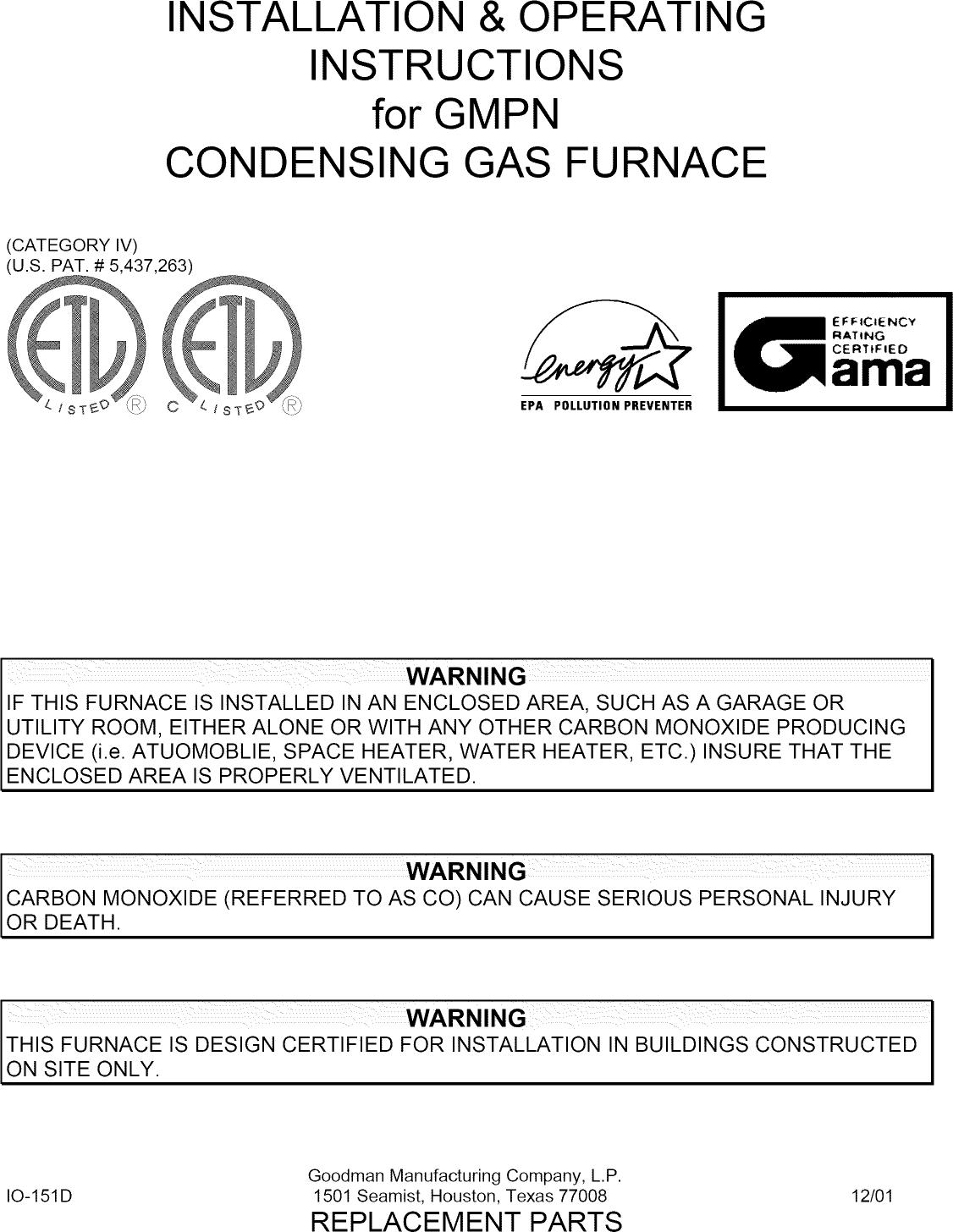 Goodman Gmpn040 3 User Manual Gas Furnace Manuals And Manual Guide