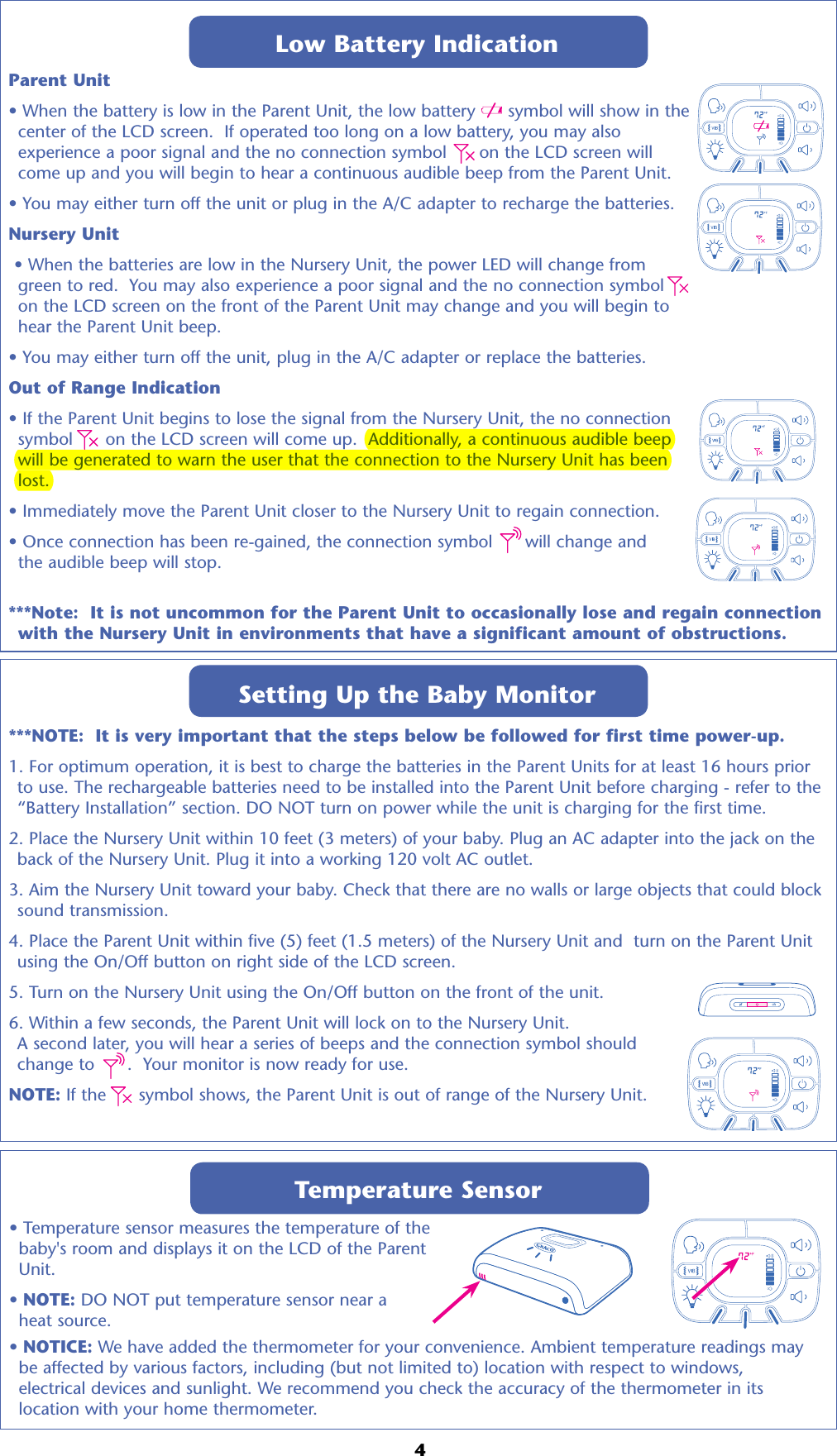Graco Children S Pd114716 Nursery Unit User Manual Fcc Part 15 Symbol For Electrical Outlet Additionally Wiring Low Battery Indicationparent When The Is In Parent