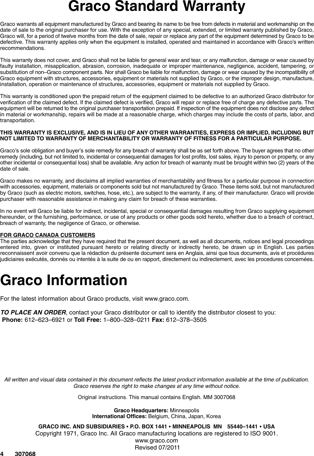 Graco 307068U Low Pressure Ball Valves Users Manual Valves, Nickel