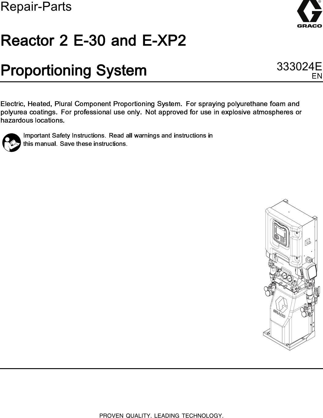 graco reactor e xp2 repair manual