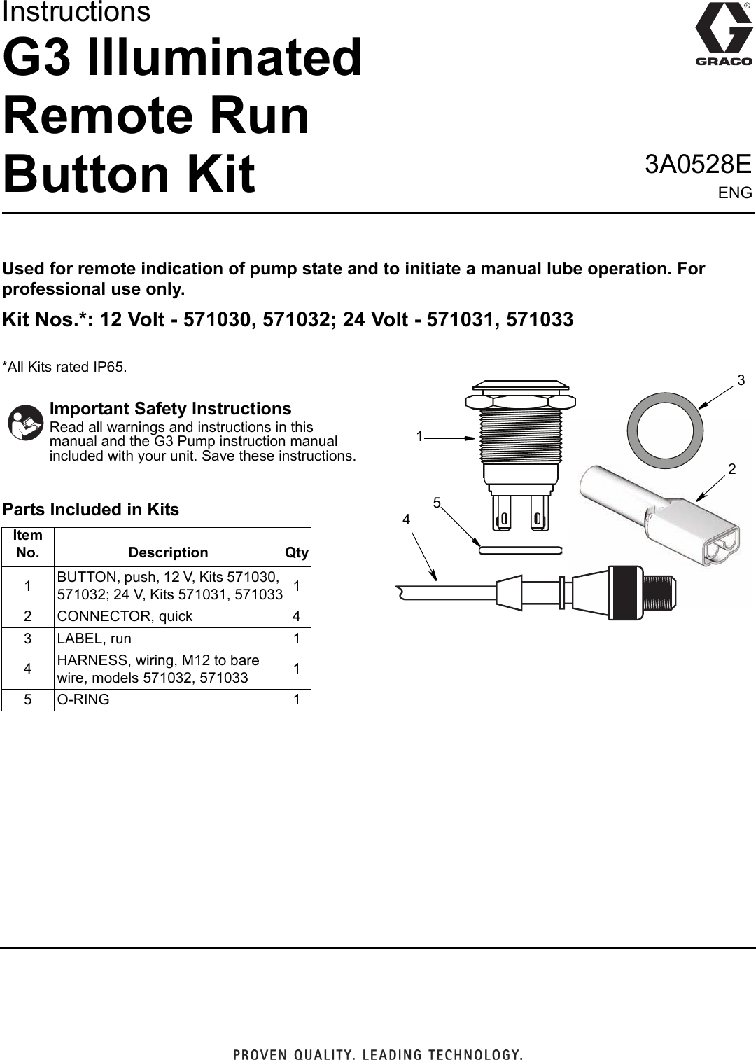 Graco 3a0528e G3 Illuminated Remote Run Kit Users Manual Wiring Diagram Instructions English