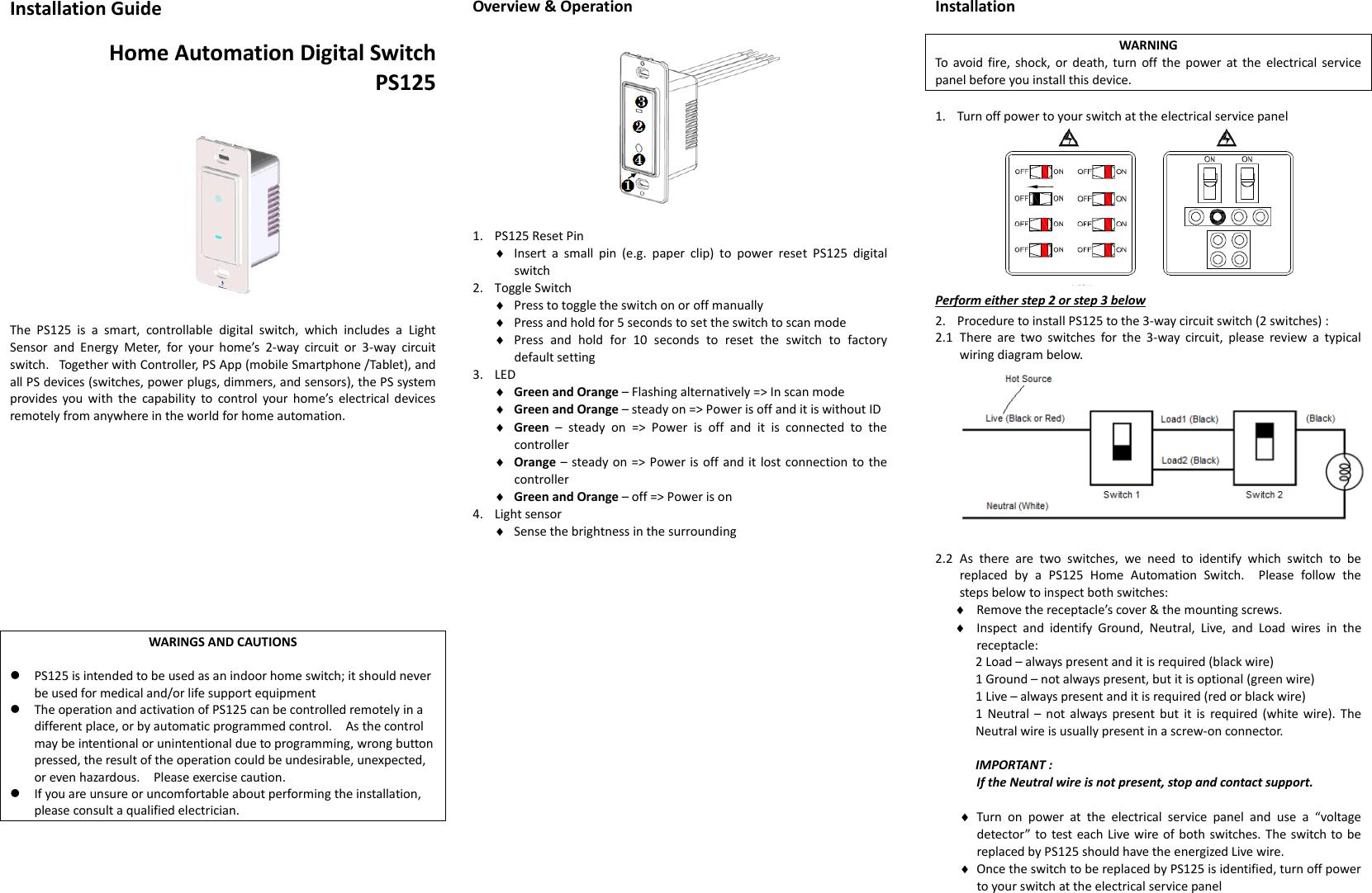 Grandex Ps125 01 Digital Switch User Manual Ca 210 V1 1 070605 3 Way Automation