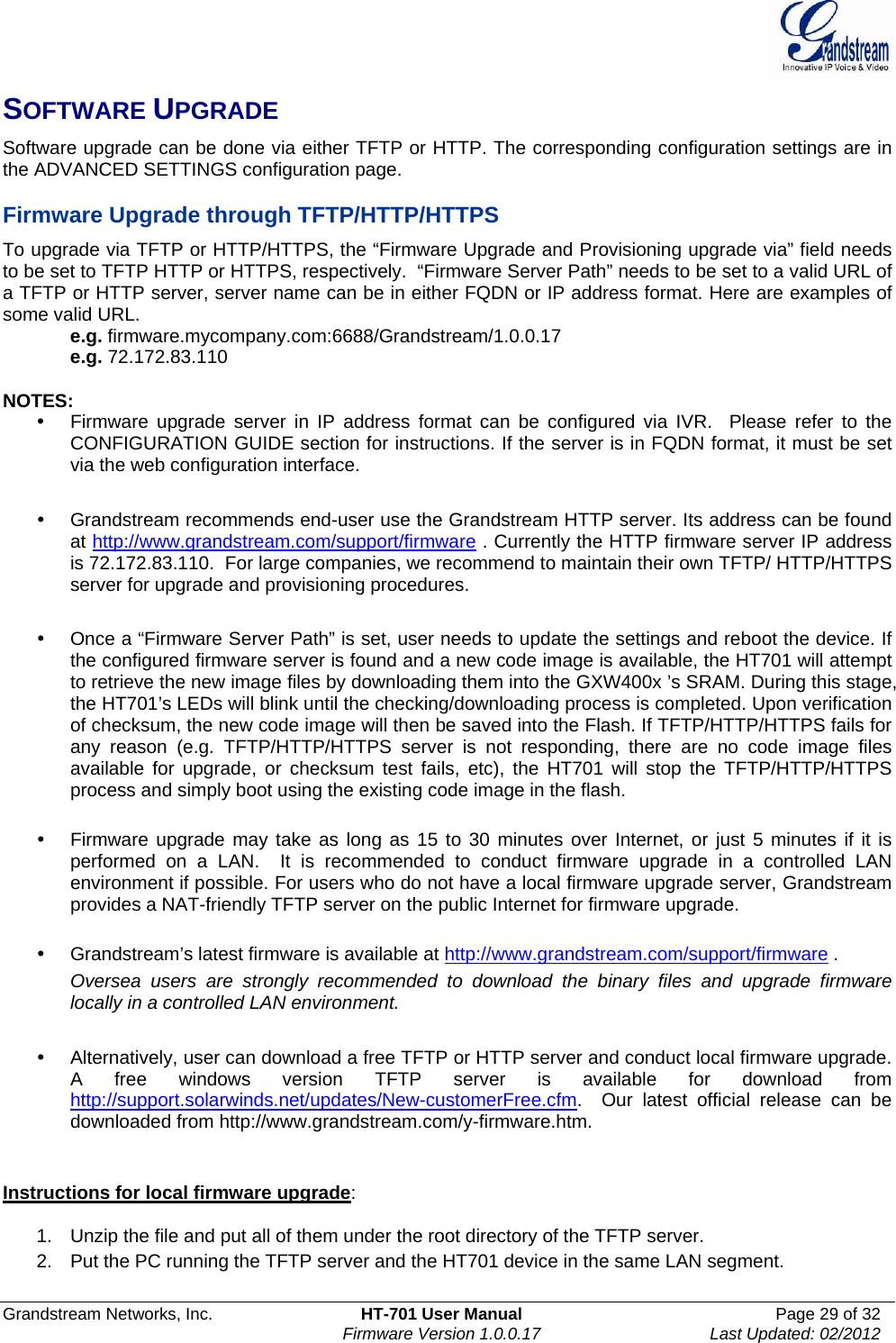 Grandstream Networks HT701V21 ATA User Manual HT701 User