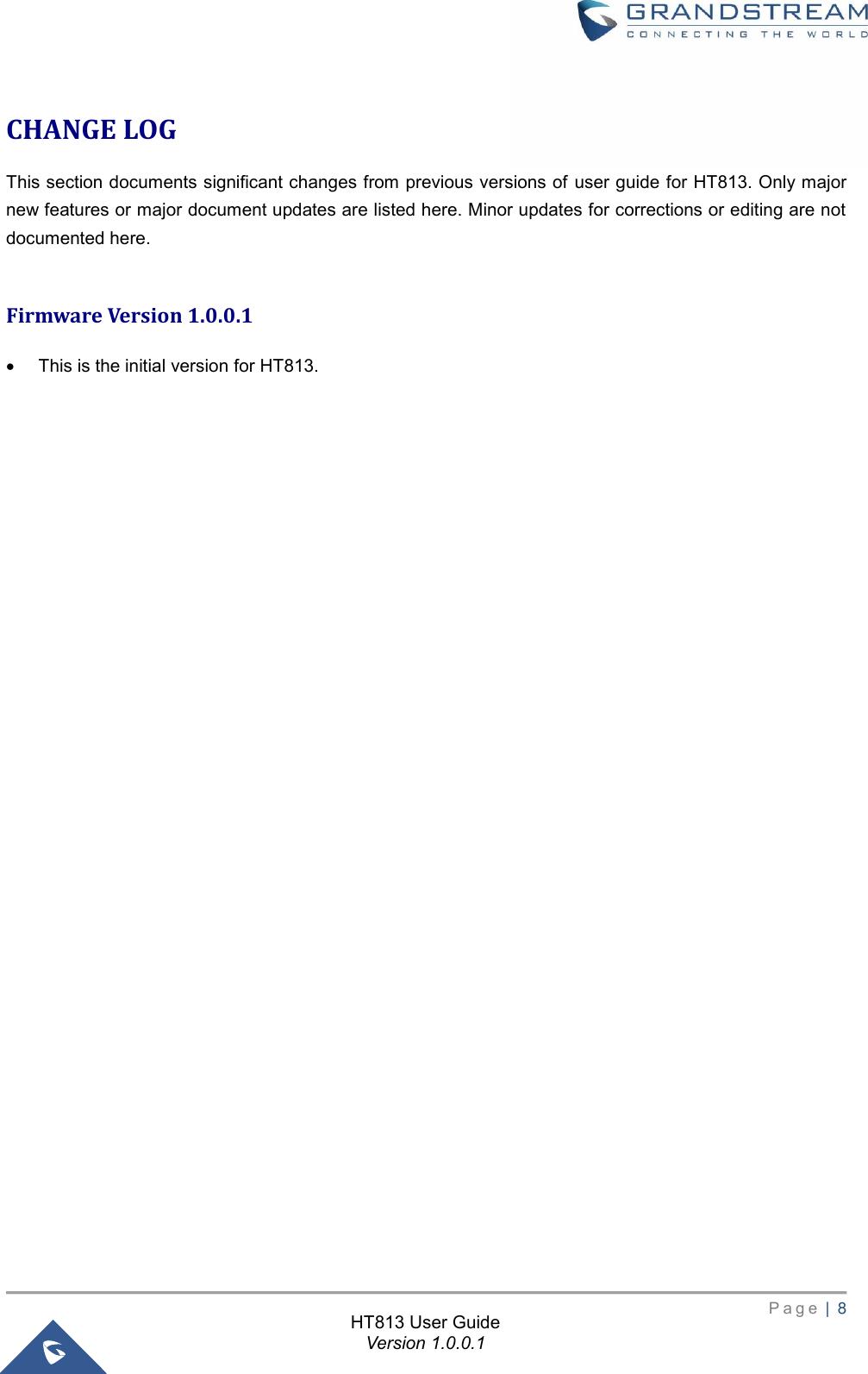 Grandstream Networks HT813 Analog Telephone Adaptors User Manual