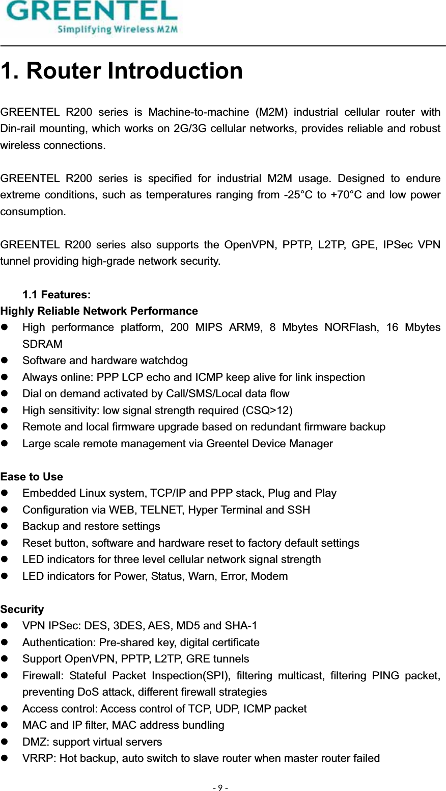 Greentel R1H1 industrial HSUPA router User Manual R200