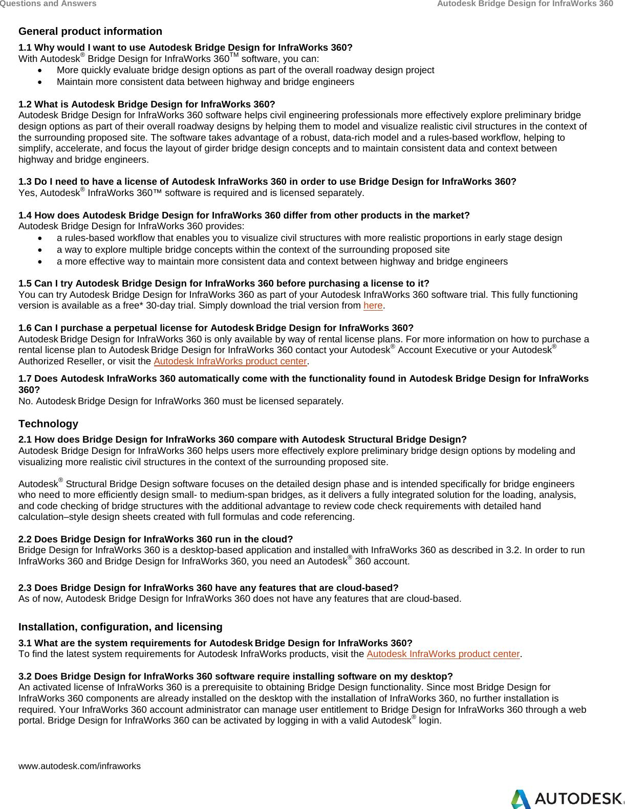 Bridge design infraworks 360 2014 faq enx For Infra Works FAQs