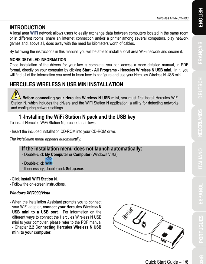 Guillemot 5090619 Hercules Wireless N USB mini User Manual